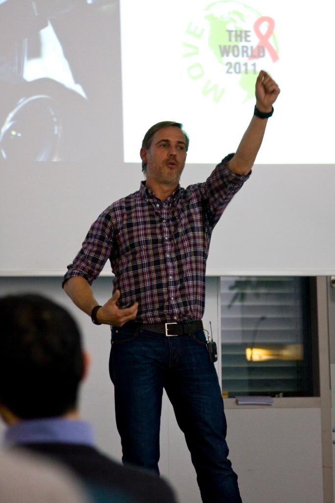 Hr. Franz während der Keynote: Mit Mut kommt Veränderung
